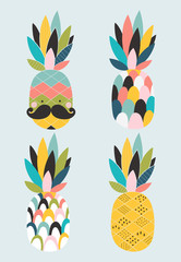 Poster with four stylized pineapples. Vector illustration in a scandinavian style. Cute and funny poster.