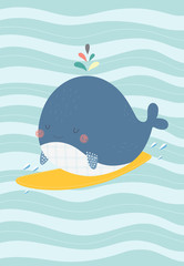 Cute whale on a surf. Vector illustration in a scandinavian style. Cute and funny poster.