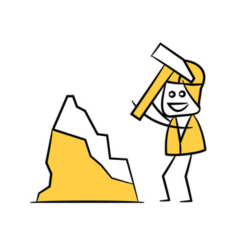 miner using axe to mining in yellow theme