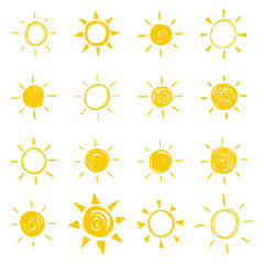 Set of vector hand drawn icons of the sun with sunbeam.
