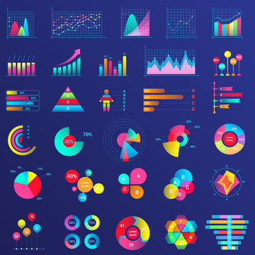 Infographics flat neon illustrations set. Graph arrow growth color icon. Data analysis, statistics analyzing. Pie charts, diagrams isolated cliparts pack. Survey, questionnaire percentage result