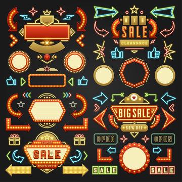 Retro showtime signs design elements set billboard signages light bulbs, neon lamps vector illustration