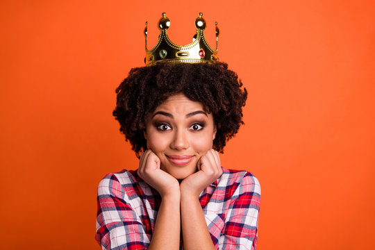 Close up photo of cute nice lady gold crown head famous person coronation wear casual plaid checkered shirt isolated orange bright background