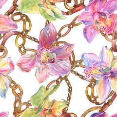 Fleurs botaniques florales d& 39 orchidée. Ensemble d& 39 illustrations de fond aquarelle. Motif de fond sans couture.