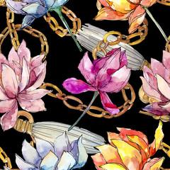 Fleurs botaniques florales de lotus. Ensemble d& 39 illustrations de fond aquarelle. Motif de fond sans couture.