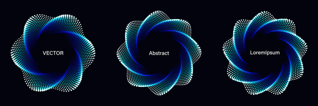 Set of Spiral Dotted Graphic Elements in Blue Tones. Geometric Vector Frames on Black Background.