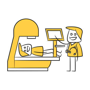 MRI, CT Scan and patient icon in yellow theme