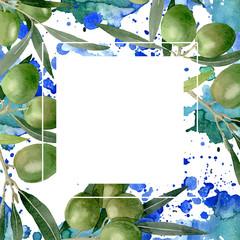 Olive branch with black and green fruit. Watercolor background illustration set. Frame border ornament square.