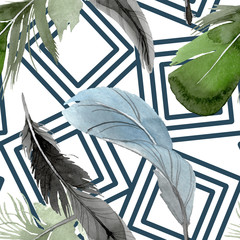 Bird feather from wing isolated. Watercolor background illustration set. Seamless background pattern.
