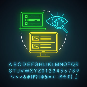 Online brochures and lookbooks neon light icon. Content marketing channels. Information file. Photographs collection. Glowing sign with alphabet, numbers and symbols. Vector isolated illustration