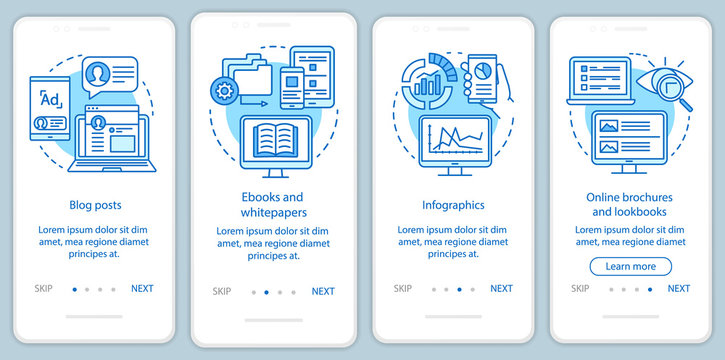 Awareness content blue onboarding mobile app page screen vector template. Blog posts, ebooks, infographics walkthrough website steps with linear illustrations. UX, UI, GUI smartphone interface concept