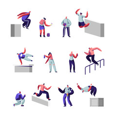 Teenagers Making Parkour Tricks and Paint Graffiti on Street Set. Young Men Jumping Over Walls and Barriers, Urban Culture, Active Lifestyle, Sport Outdoors Activity. Cartoon Flat Vecotr Illustration