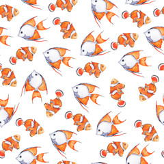 Seamless pattern with orange and grey fish on white background. Hand drawn watercolor illustration.