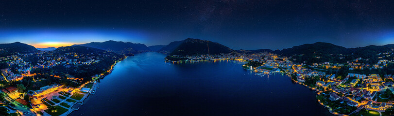 Stars over Lake Como 360° Aerial View