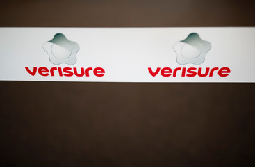 A picture shows the logo of Verisure, a provider of professionally monitored security solutions, in Angers