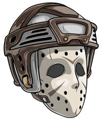 Cartoon scary halloween goalie hockey mask with plastic protective helmet. Isolated on white background. Vector icon.
