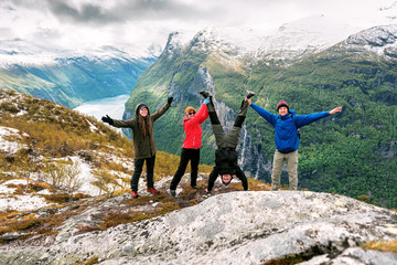 four funny friends over the Norwegian Fjord