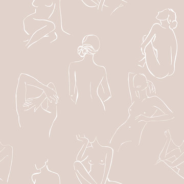 Modern minimalism art, aesthetic contour. Abstract women's silhouette minimalist line art woman body line. Sketch .The seamless patterns are absolutely perfect for packaging, textiles or tissue paper.