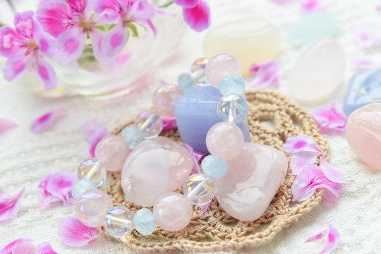 gem stones and bracelet with flower