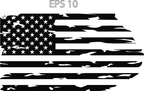 Distressed American US  flag EPS 10
