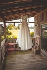 wedding dress at farm house