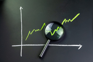 Black magnifying glass on chalk drawing green line stock or company performance graph and chart on blackboard using as financial analysis, profit and loss or searching for earning and yield