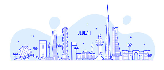 Wall Mural - Jeddah skyline Saudi Arabia city vector linear art
