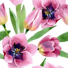 Obraz Różowe tulipany kwiatowe, akwarela - fototapety do salonu