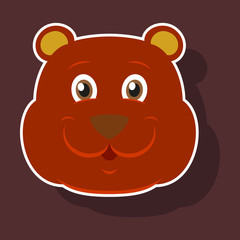 realistic paper sticker on theme funny animal bear