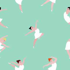 Seamless pattern with dancing ballerinas on blue green background.