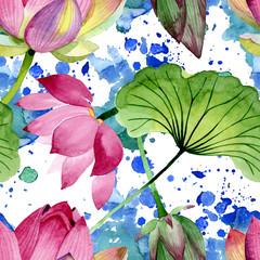 Pink lotus floral botanical flowers. Watercolor background illustration set. Seamless background pattern.