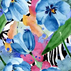 Blue tulip floral botanical flowers. Watercolor background illustration set. Seamless background pattern.
