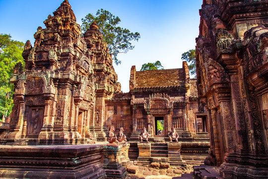 Karuda Bird Gardians Carvings at Banteay Srei Red Sandstone Temple, Cambodia
