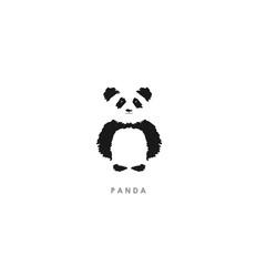 Minimalistic illustration of brush. Cute panda logo - Vector