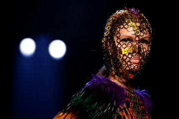 A model presents a creation by designer Jean Paul Gaultier as part of his Haute Couture Fall/Winter 2019/20 collection show in Paris