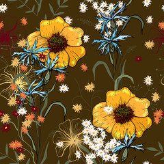 Vintage boho seamless pattern, bouquet decoration. Cute vector floral design. Bohemian garden with multicolor wild fowers in hand drawn style.