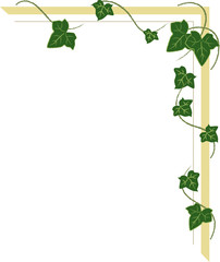 corner ornament with ivy shoots, frame with leaves