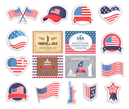 4th of July american elements, flag of USA vector, attributes of United States of America caps and batters, isolated set of stickers for independence day at fourth of July, Statue of Liberty and heart