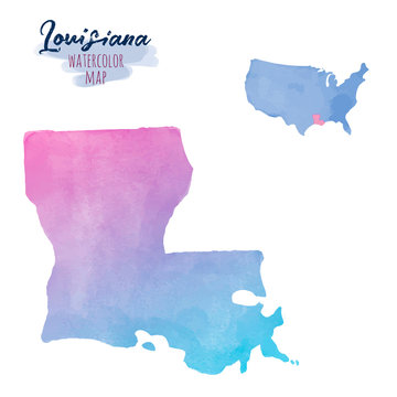 Hand drawn watercolor map of Louisiana. Colorful illustration isolated on white background