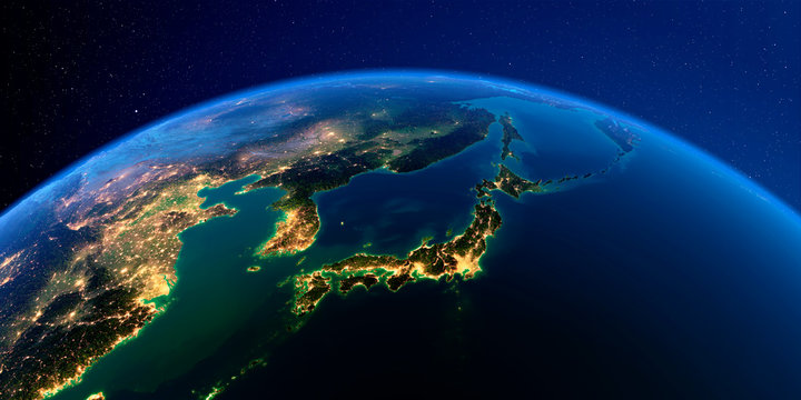 Detailed Earth at night. Part of Asia, Japan and Korea, Japanese sea