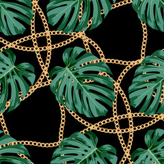 Seamless pattern with gold chain and monstera leaves. Trendy vektor illustration.