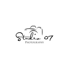 Hand drawn camera photography logo studio