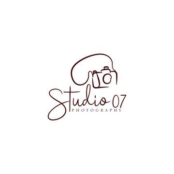 Hand drawn camera photography logo studio