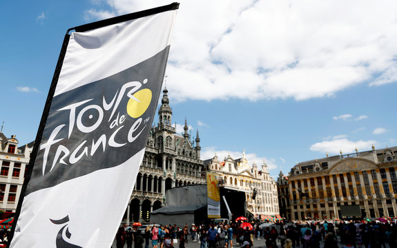 The logo of the 2019 Tour de France cycling race is pictured at the Grand Place in Brussels