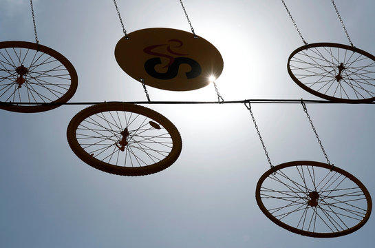 The logo of the Grand Depart of the 2019 Tour de France cycling race is pictured near wheels in central Brussels