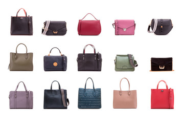 Collection of fashionable women's bags. Fashion bags. Pulp of orange grapefruit close up.