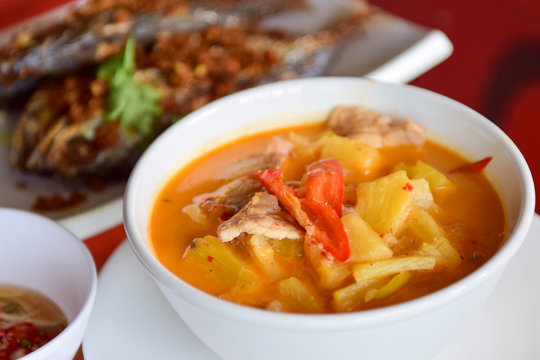 Southern Thai Spicy Sour Yellow Curry with pork and pineapple