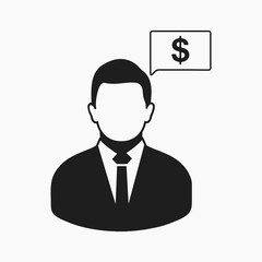 Financial manager icon. Flat style vector EPS.