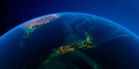 Detailed Earth at night. New Zealand