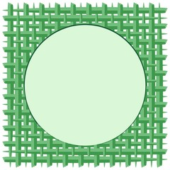 Weaved Coconut Leaf with Round Frame Green Vector Background